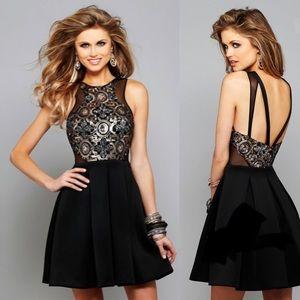 Faviana Sequin Black Short Cocktail Dress Size 10